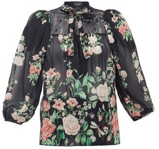 Giambattista Valli Neck-tie Floral-print Silk-georgette Blouse - Black Multi