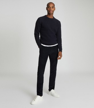 Reiss RIPPER CABLE KNIT CREW NECK Navy