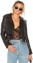 Understated Leather Shrunken Moto Jacket