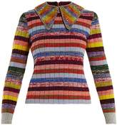 Gucci Embellished-collar striped wool-blend sweater