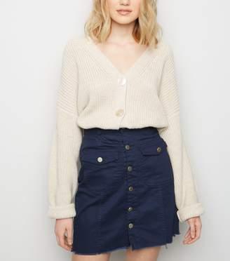 New Look Pink Vanilla Button Front Denim Skirt