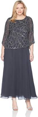 J Kara Women's Plus Size 3/4 Sleeve Geo Design Long Beaded Gown
