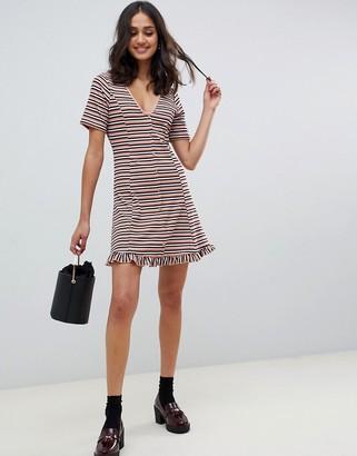 Asos DESIGN tonal stripe rib mini button through tea dress