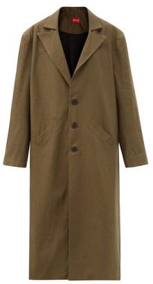 Art School Oversized Single-breasted Linen Coat - Khaki