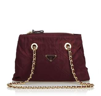 Prada Red Quilted Nylon Chain Tote Bag