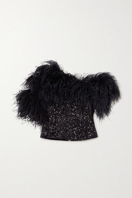 16Arlington Vivien Feather-trimmed Sequined Crepe Top - Black
