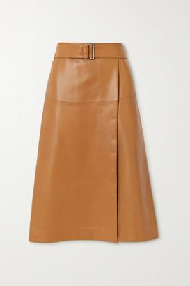 Joseph Salic Belted Leather Midi Skirt - Camel