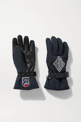 Chloé Fusalp Embroidered Shell And Leather Ski Gloves - Navy