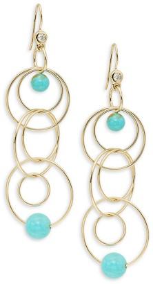 Ippolita 18K Yellow Gold, Matrix Turquoise Diamond Triple Drop Earrings