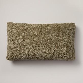 "Indigo Shaggy Faux-Fur Pillow Cover Sage, 12"" X 21"""
