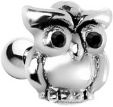 Body Candy 925 Sterling Silver Black Eyes Wise Owl Cartilage Earring