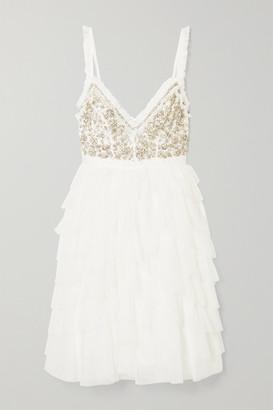 Needle & Thread Leilah Ruffled Embellished Tulle Mini Dress - Ivory