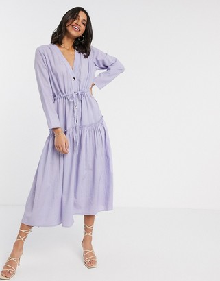 Asos DESIGN textured button through maxi dress in lilac