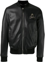 Philipp Plein skull & crossbones bomber jacket - men - Leather/Polyester/Viscose - L