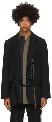 Song For The Mute Black Oversized Script Blazer