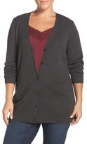 Sejour Plus Size Women's Ribbed V-Neck Cardigan