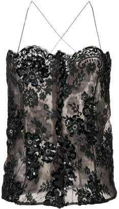 Saint Laurent Pre-Owned 1980's embroidered sheer cami