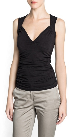 MANGO Ruched cotton top