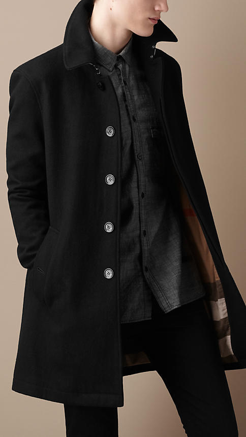 Burberry Mid-Length Lightweight Wool Blend Trench Coat