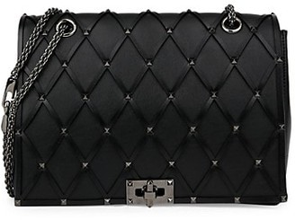 Valentino Beehive Studded Leather Shoulder Bag