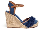 Tory Burch 'Shaw' fringe denim espadrille wedges