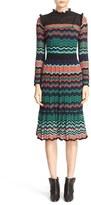 M Missoni Ruffle Trim Ripple Stitch Midi Dress