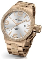 TW Steel Canteen CB166 Rose Gold Automatic with Sunray Silver Dial 50mm Mens Watch