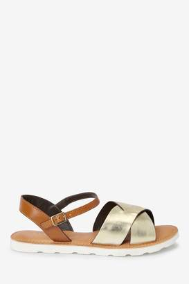 Next Womens Metallic Extra Wide Fit Forever Comfort Leather Sporty Sole Sandals - Metallic