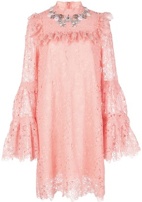 Giambattista Valli Embellished-Neck Floral Lace Dress