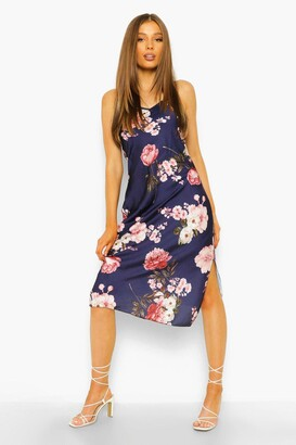 boohoo Floral Satin Midi Dress