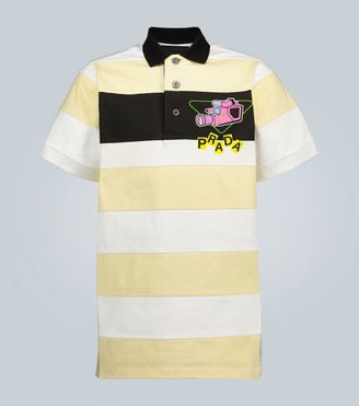 Prada Camera printed striped polo shirt