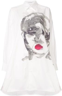 Yohji Yamamoto painting face long shirt