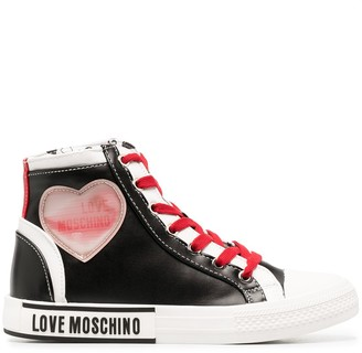 Love Moschino Heart-Patch High-Top Trainers