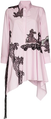 Marques Almeida Asymmetric Lace-Panelled Shirt Dress