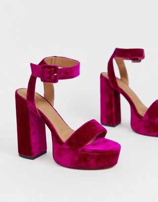 ASOS DESIGN Hostess platform heeled sandals in magenta