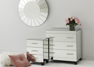 Isa Belle Isabelle Mirrored Bedside Table 3 Drawers