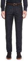 Ermenegildo Zegna Five-Pocket Stretch-Wool Pants, Navy