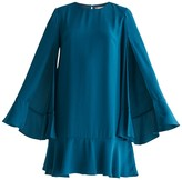Cape Sleeve Swing Dress With Peplum Hem In Turquoise