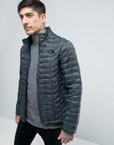 The North Face Thermoball Jacket Quilt In Green Camo Print
