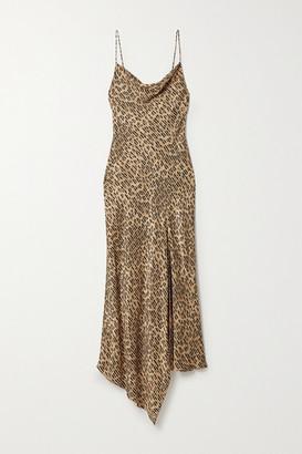 Alice + Olivia Harmony Draped Leopard-print Satin-twill And Voile Dress - Leopard print