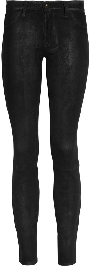 J Brand Stretch-suede mid-rise skinny pants