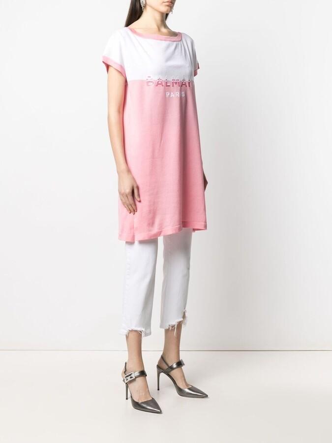 Thumbnail for your product : Balmain logo-print knitted T-shirt dress
