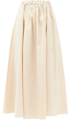 Roksanda Allegra Smocked-waist Cotton-poplin Midi Skirt - Cream