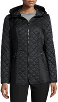 Laundry by Shelli Segal Quilted Jacket with Drawstring Hood, Pebble