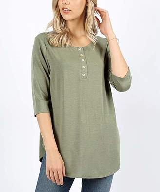 Zenana Women's Tunics LT.OLIVE_IPB - Light Olive Three Quarter-Sleeve Henley - Women