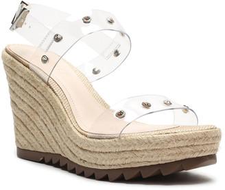 Schutz Holly Studded Vinyl Wedge Espadrille Sandals