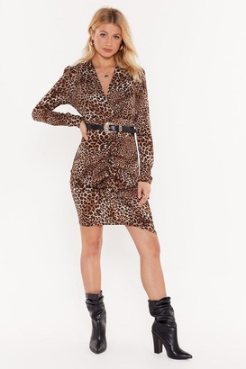 Nasty Gal Womens Meow You Doin' Leopard Mini Dress - Brown - S