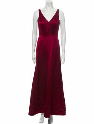 Carmen Marc Valvo V-Neck Long Dress