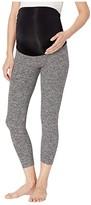Beyond Yoga Fold Down Maternity Capri Leggings (Black/White Space Dye) Women's Casual Pants