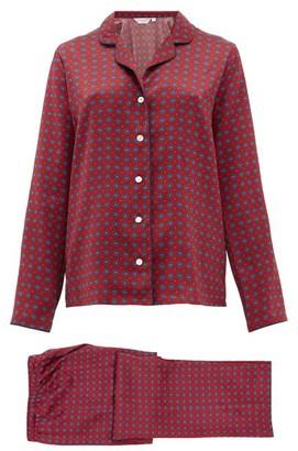 Derek Rose Brindisi Printed-silk Pyjamas - Womens - Red Multi